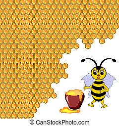 schattig, pot, omringde, bij, honing, honingraten, spotprent