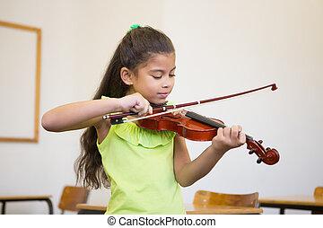 schattig, pupil, het spelen viool, in, klaslokaal