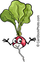 schattig, radijsje, groente, spotprent, illustratie