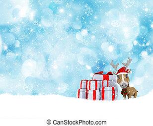 schattig, rendier, kerstmis, achtergrond