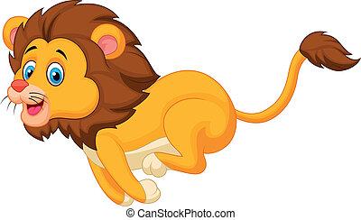 schattig, rennende , leeuw, spotprent