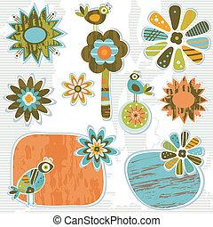 schattig, retro, decoratief, lijstjes, en, bloemen