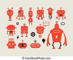 schattig, robot, karakters, iconen