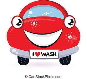 schattig, rode auto, wassen, vrijstaand, op wit