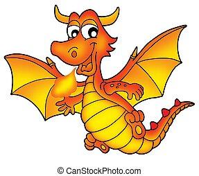 schattig, rood, draak