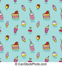schattig, room, model, seamless, ijs, soda, taart
