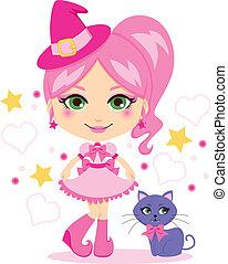 schattig, roze, heks