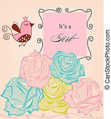 schattig, rozen, douche, floral, baby meisje, vogel