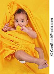 schattig, rubber duckie, vasthouden, ethnische , baby