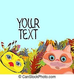 schattig, ruimte, animalsl, tekst, vector, tekening, spotprent, illustrations.