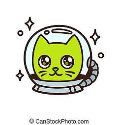 schattig, ruimte, spotprent, kat