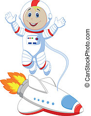 schattig, ruimtevaarder, spotprent
