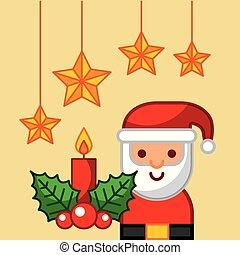 schattig, santa claus, bes, sterretjes, kaarsje, hulst, kerstmis