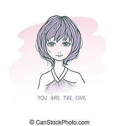 schattig, schets, kort, haren, verdrietige , meisje, tekening