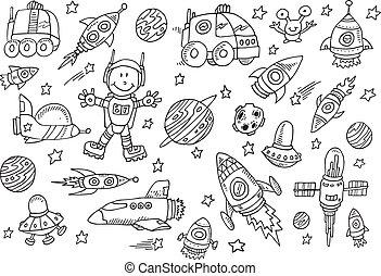 schattig, schets, set, ruimte, doodle, vector