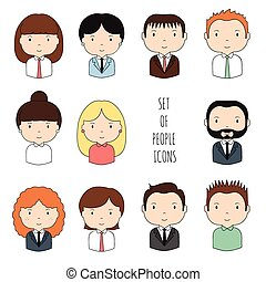 schattig, schets, set, werkkring mensen, businesswoman., modieus, style., design., gekke , doodle, jouw, avatar., getrokken, kleurrijke, icons., hand, verzameling, spotprent, illustration., vector, businessman., gezichten