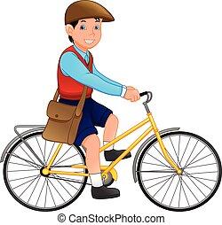 schattig, school, fiets, jongen