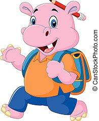 schattig, schooltas, nijlpaard
