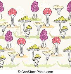 schattig, seamless, paddenstoel, model