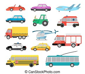 schattig, set, auto's, illustratie, vector, vehicles., spotprent