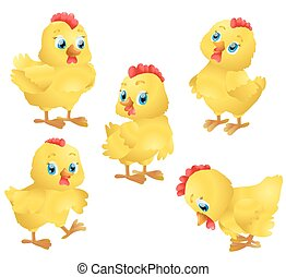schattig, set, chickens., illustratie, vector, spotprent