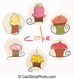 schattig, set, cupcakes