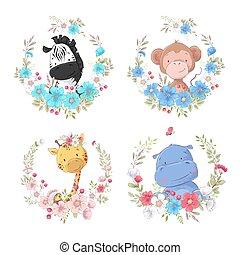 schattig, set, dieren, aap, nijlpaard, kinderen, giraffe, kransen, zebra, spotprent, bloem, clipart.