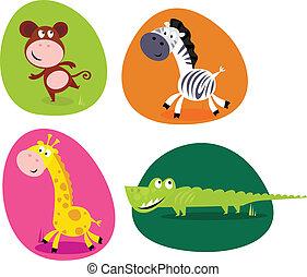 schattig, set, dieren, -, monkey.., safari