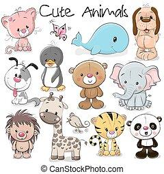 schattig, set, dieren