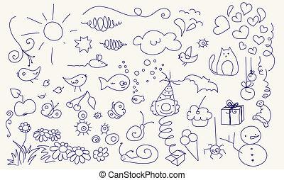 schattig, set, doodle