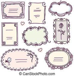 schattig, set, doodle, frame, vector, floral