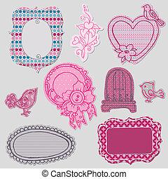 schattig, set, doodle, -, vector, bloem, lijstjes, vogels,...