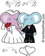 schattig, set, elefant, spotprent, trouwfeest