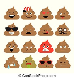 schattig, set, emoji, illustration., schattig, emotie, vector, poop