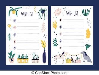schattig, set, gifts., style., vasthouden, honden, voorbeelden, plat, guirlande, bundel, gewenste, vlag, illustratie, paar, verfraaide, potten, cadeau, houseplants, wens lijst, boxes., kaarten, vector, groeiende