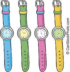 schattig, set, horloge