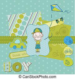 schattig, set, jongen, -, communie, ontwerp, baby, plakboek