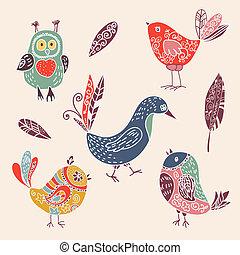 schattig, set, kleur, doodle, vogels, ouderwetse , spotprent
