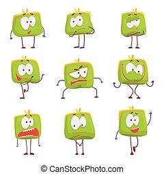schattig, set, kleurrijke, gekke , buidel, vector, groene, karakters, gezichten, illustraties, humanized