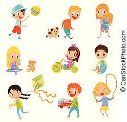 schattig, set, meiden, sporten, jongens, vector, achtergrond, illustraties, witte , spelend