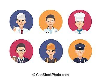 schattig, set, mensen, portretten, style., vrolijke , anders, beroepen, frames., gevarieerd, professions., circulaire, plat, kleurrijke, bundel, illustratie, karakters, spotprent, binnen, vector, mannelijke , ronde