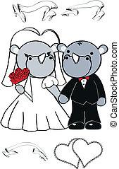 schattig, set, neushoorn, spotprent, trouwfeest