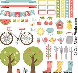 schattig, set., tuinieren, stickers