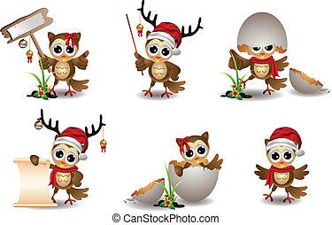 schattig, set, uil, spotprent, kerstmis