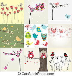 schattig, set, valentines, stellen, negen, kaarten, vogels