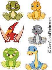 schattig, set, verzameling, dinosaurussen, baby, spotprent