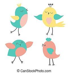 schattig, set, vogels, kleurrijke