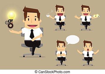 schattig, set, werkkring werker, gevarieerd, karakters, zakenman, maniertjes