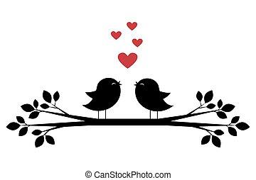 schattig, silhouettes, hartjes, zingen, vogels, rood