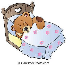 schattig, slapende, beer, teddy